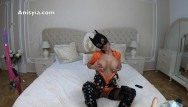 Catwoman fetish sex Anisyia jasmin latex catwoman deep inside her pussy