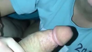 Blowjob for daddy finished with a handjob