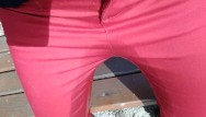 Pee outdoors boy Pee on my new red jeans outdoor