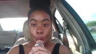 Slutload sucking pussy lips Ebony big lips sucking ice cream pop outside in car - cami creams