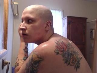 Sensual BBW Fresh Head and Shower Shave Masturbation