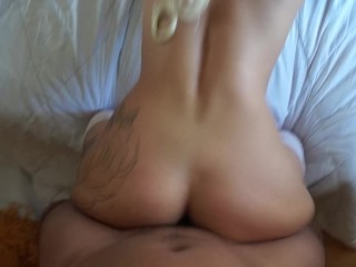 Geek Сhic Gets Messy Blowjob and Assjob After  Morning Workout