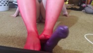 Foot doctor jobs Chubby girl with red stocking foot job handjob and blowjob