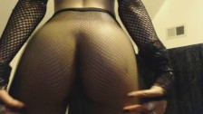 Strip Teasing Young Goth in Fishnets Shows Off and Jiggles her Perfect Ass