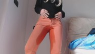 Orange bikini of clothing - Pee in my orange jeans