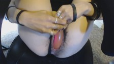 Young Wet Hairy Pussy Teased through Cute Gradient Panties then Dildo Fuck