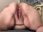 Fat girl with big ass shows off asshole and pussy!