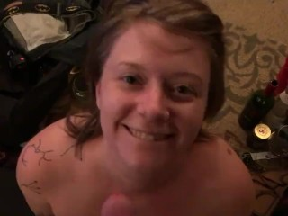 Blonde pixie gives the BEST blow job with cum shower