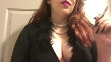Chubby Goth Teen with Big Perky Tits Smoking Red Cork Tip 100 in Pearls
