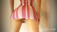 Teen valentines dresses Mini dress upskirt no panties booty shake