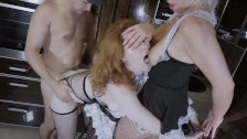 Kate Truu is rough facefucked after double dildo deepthroat fun with Girl
