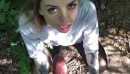 Freya dildo Pov deepthroat sloppy blowjob from hot teen on nature, swallows cum - freya