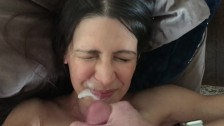 Wife fucked doggystyle and takes a facial