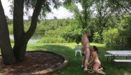 Of a nudist - Nudist couple exposed - missy gives george a blowjob outdoors