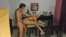 A table for fucking and dripping creampie