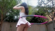 Upskirt cum Hula hooping with no panties tons of upskirt