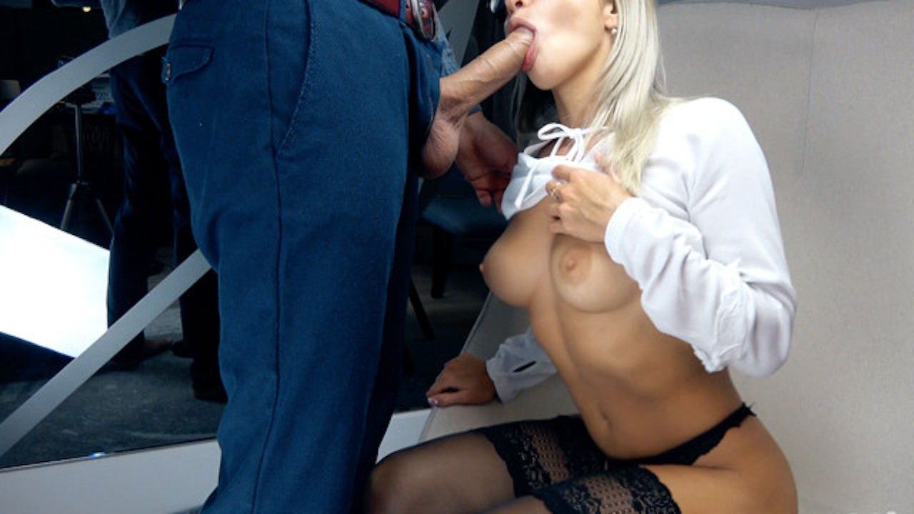 Blonde Suck Big Cock and Handjob for Cum in Mouth