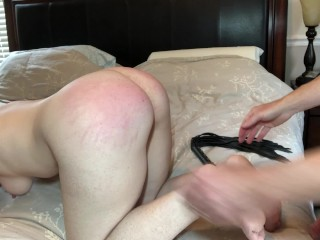 Milf flogged and choked on cock