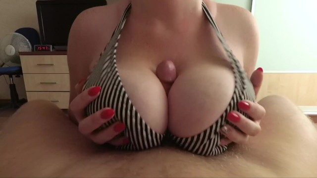 Wqhd dirty lady hard amateur titfuck with bra net and cum between my boobs POV