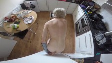 Cute Emo Jay Lane wit white hair rides a toy and cums hard
