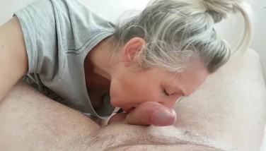 morning blow job cumshot mouth