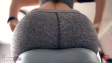 Sexercise, Orgasm on Exercise Bike in Yoga Pants - Ass View + Heart Rate