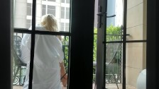 Sneaky Balcony Blowjob Ends in Big, Messy Facial