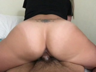 Pawg cums on cock and rides while getting cummed in until cant handle anymo