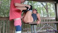 Fuck pant - Milf in yoga pants getting fucked on picnic table - dont get caught