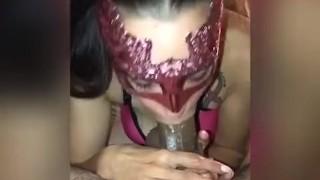 Snowbunny gives sloppy deepthroat bf with cum explosion part 2
