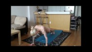 Woman ger naked Kleio valentien gets a workout in naked.