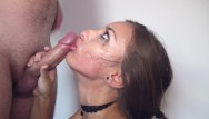 Sweet tit fuck Sloppy hard deepthroat, rough mouth fuck with face slapping and big facial