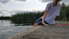 Sagging wet outdoor in lake with clothes