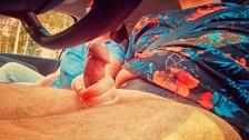 I helped my Driver Relax on a Long RoadTrip | Redhead Car Handjob Cumshot
