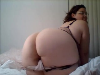 Cute BBW stoner smokes, strips, and cums