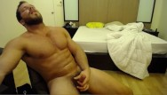Gay male chests - Solo muscle hunk cums all over his chest with brock jacobs