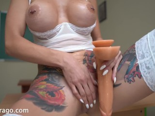 School teacher Tanya Virago toying with 10-inch dildo after her classes
