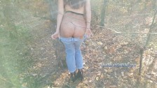 Horny teen loves to play with her tight ass in public park. 4K