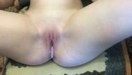 Close-up cum My roommate fucks me and cum inside close up creampie