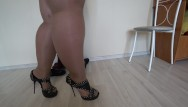 Free xxx megs - Thick legs in nylon try on shoes with high heels.