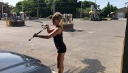 Sexy mini-dresses Wife in mini skirt high heels flashing great ass at outdoor carwash