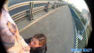 Playground swinging bridge - Very public blowjob on the bridge and on the playground pov