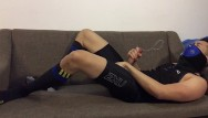 Gay porn ic post Post-workout jerk-off: slowmo cum in tights and football socks
