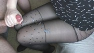 Dark sexy leg - Teen handjob - cum on legs in sexy pantyhose