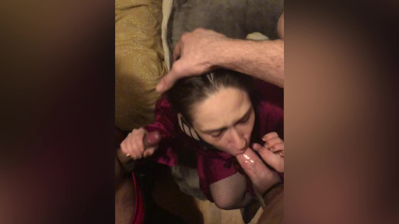 Hotwife Cuckolds Sissy Husband With Interracial Bull perview