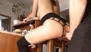 Chair facial stool Amateur brunette babe anal - ass fucked hard and anal toyed on a bar stool