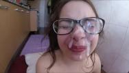 Shy love facial - Shy teen first facial , cumshot on glasses feet fetish
