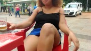 Amateur pussy flash Bbw ebony flashing at donwtown and do public blowjob