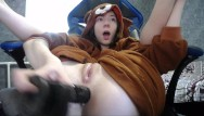Sexy young fucking girls - Cute girl fucks herself with a big black dildo in a bear costume