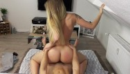 My first orgasm female - Blonde amateur rides reverse to creampie orgasm pov